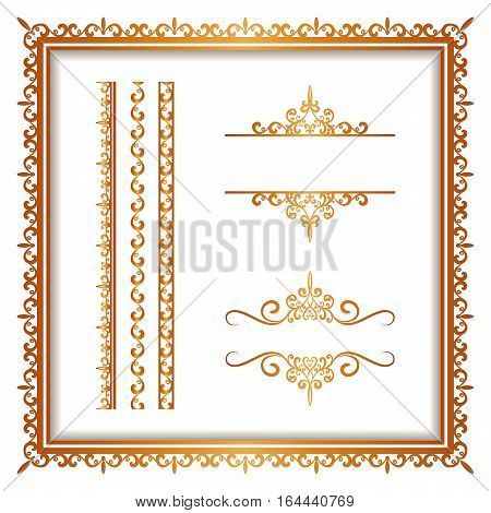 Vintage gold borders and frames set of decorative design elements golden embellishment on white