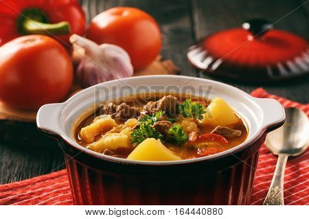 Hungarian soup goulash (bograch) with dumplings .