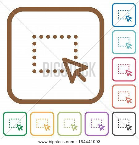 Drag and drop operation simple icons in color rounded square frames on white background