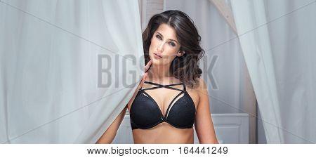 Sexy Woman Posing In Bedroom.