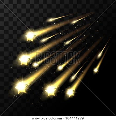 Vector falling stars on transparent background. Space star light shooting in dark. Twinkle star in universe illustration