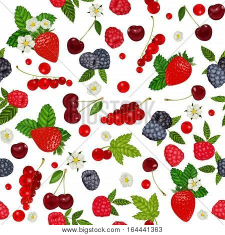 seamless pattern with summer berries. Strawberry, Blueberry, Cherry, Raspberry, Red currant. Vector illustration