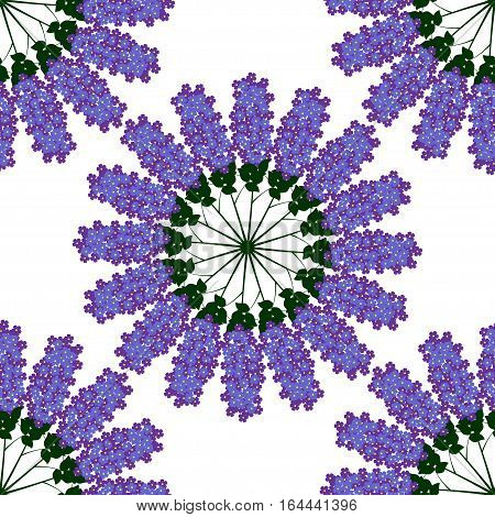 Simple seamless pattern of lilac flowers. Mandala branch of lilac. Floral seamless background for textile, wallpapers, print, gift wrap and scrapbooking.