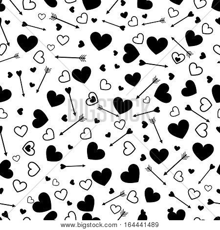 Valentine heart love seamless pattern with arrows and heart. Love wedding background design. Vector illustration