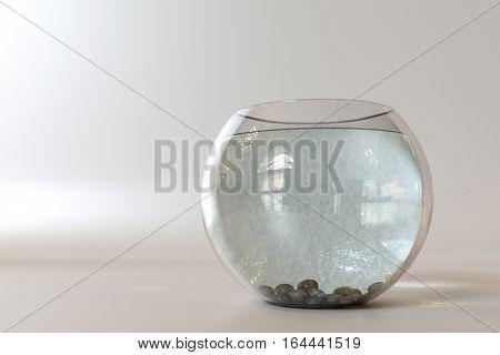 glossy empty fishbowl isolated on white background