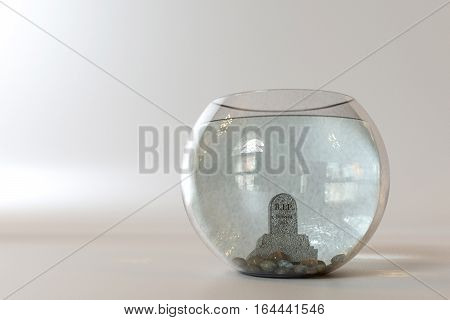 Grave stone into a fishbowl isolated on white background. 3D