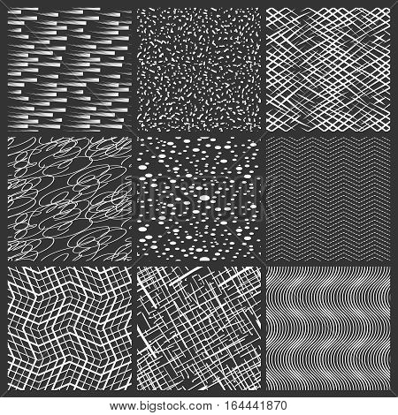 Chaotic lines, spots and brushstrokes black and white patterns. Vector abstract simple streep seamless pattern set. Illustration with stroke line ink
