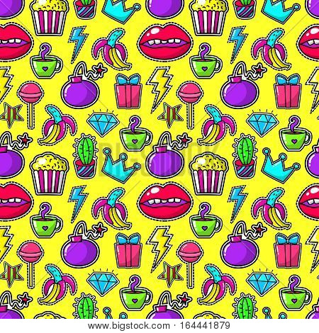 Handwritten stickers or fashion 80s girl badges with bomb and crystal, lightning and banana on yellow background. Popcorn and lips, mouth and bomb cartoon vintage crown. Vector illustration