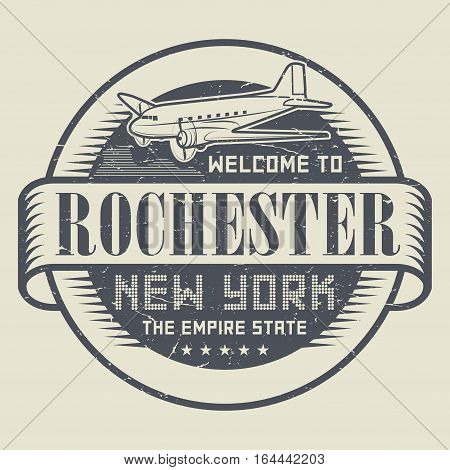 Grunge rubber stamp or tag with text Welcome to Rochester New York vector illustration