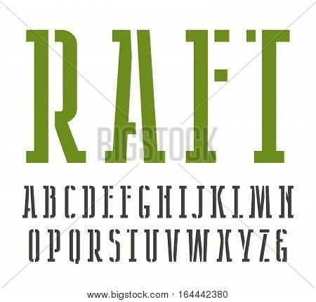 Narrow slab serif stencil-plate font. Isolated on white background