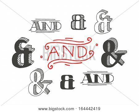 Set of decoration ampersands for letters and invitation. Handwritten type. Isolated on white background