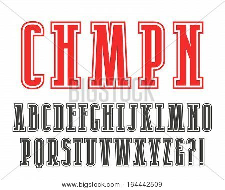 Slab serif font in college style with contour. Isolated on white background