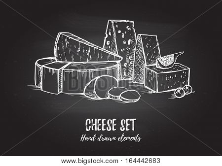 Hand Drawn Vector Illustration. Cheese Set (mozzarella, Blue Cheese, Gouda, Parmesan, Maasdam). Isol