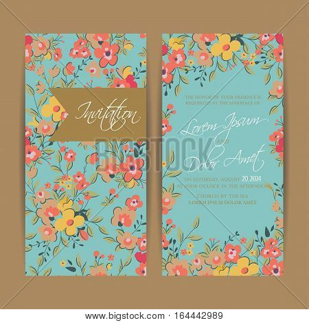 Wedding invitation card or announcement . Can be used as greeting card, birthday card or party invitation