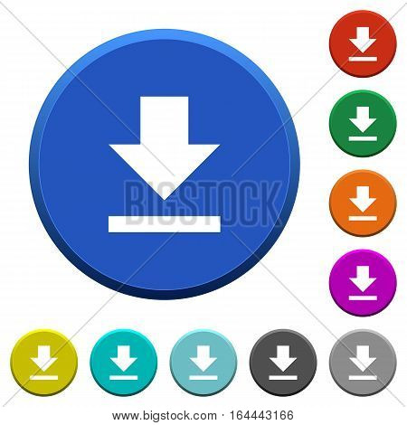 Download round color beveled buttons with smooth surfaces and flat white icons