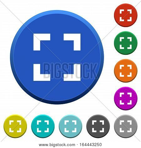 Selector tool round color beveled buttons with smooth surfaces and flat white icons