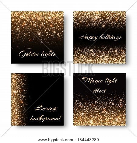 Set of abstract backgrounds with golden lights bokeh. Design for greeting card for Christmas birthday Valentines Day.