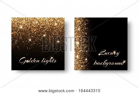 Set of backgrounds with festive lights on a black backdrop. Registration for celebrating birthdays New Year Christmas Valentines Day.