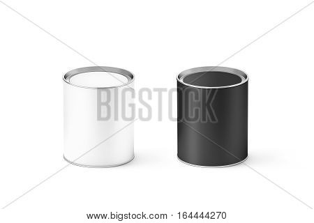 Blank black and white cylinder tin can mockup isolated 3d rendering. Small cylindrical canned container with label on lid mock up. Preserved food packaging template.