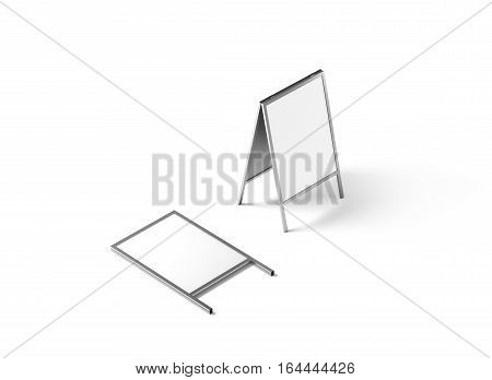 Blank white metallic outdoor stand mockup isolated isometric view 3d rendering.