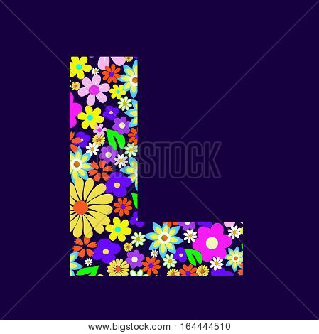 Letter of beautiful flowers L vector illustration