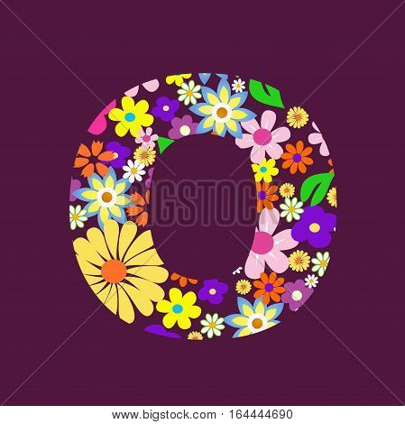 Letter of beautiful flowers O illustration design