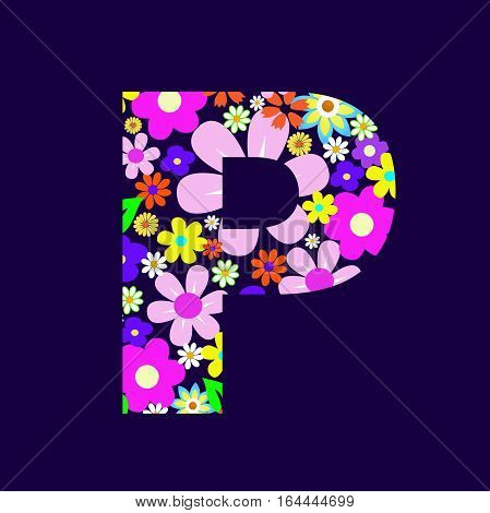 Letter of beautiful flowers P vector illustration