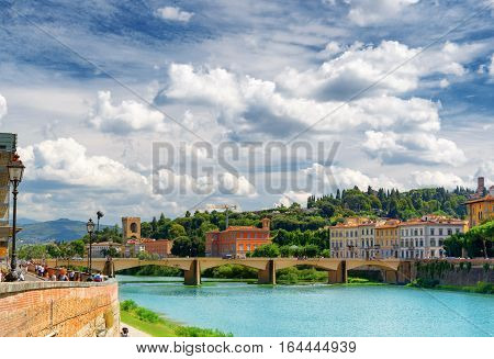 The Ponte Alle Grazie Over The Arno River, Florence, Italy