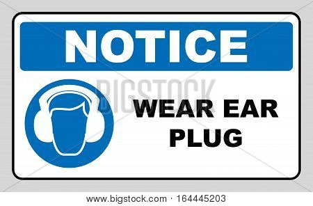 wear earmuffs or ear plugs sign. Information mandatory symbol in blue circle isolated on white. Vector illustration. Notice label