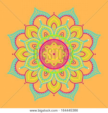 Colorful abstract mandala on yellow background, ethno motive, vector illustration, eps 10