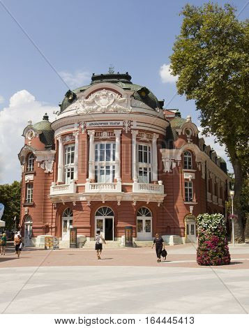 VARNA BULGARIA - AUGST 14 2015: building of Opera and Dramatic theater of town Varna works from 1947 year.