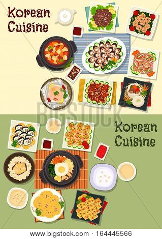 Korean cuisine icon set with sushi roll, grilled meat, fish, blood sausage, mixed vegetable rice, egg roll, chicken rice, beef stew, spinach shrimp, beef noodle, omelette, pork tofu soup, bean pancake