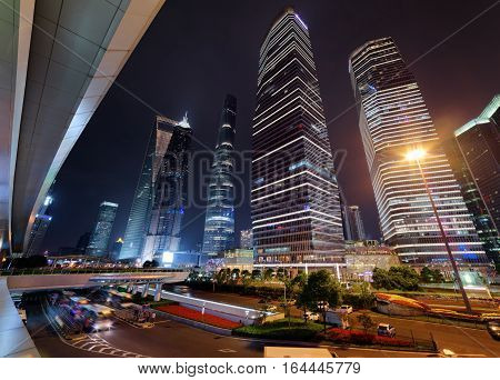 Amazing View Of Skyscrapers On Century Avenue At Night, Shanghai