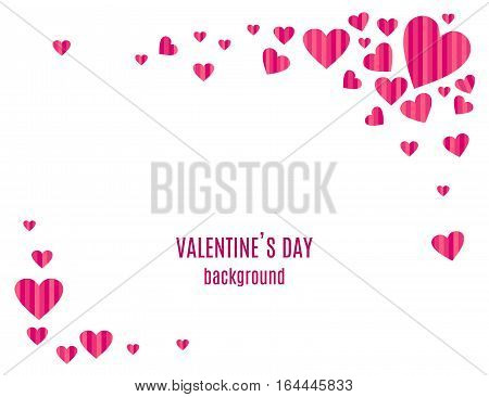 Abstract love background for Valentines day design. Stripped pink hearts frame isolated on white background. Vector illustration.