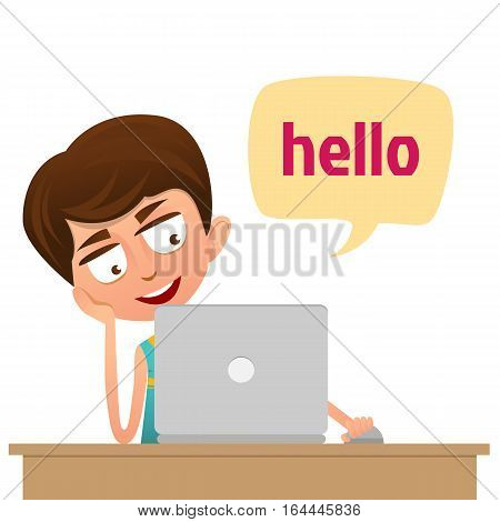 Cute Boy teenager sitting in front of computer. Social Network Concept. Flat Style.Speech bubbles Hello