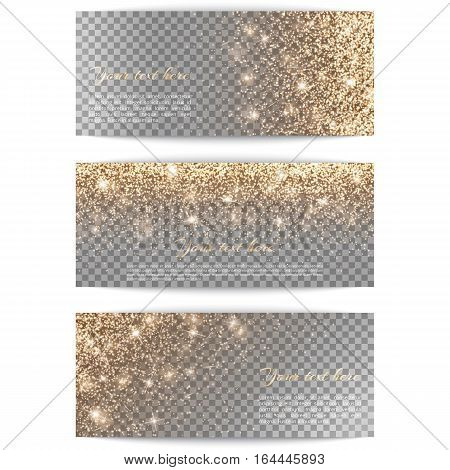 Set of horizontal banners with golden light on a transparent background