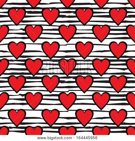 Red hearts seamless pattern on doodle line background. St. Valentines day wrapping paper. Vector illustration