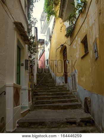 Cozy narrow italian street in Positano, Italy