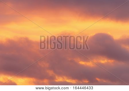 Colorful and dramatic cloudscape of a sunset with vibrant colors