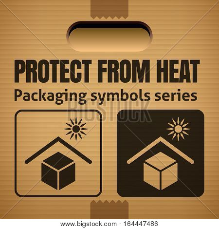 PROTECT FROM HEAT packaging symbol on a corrugated cardboard box. For use on cardboard boxes packages and parcels.Vector illustration