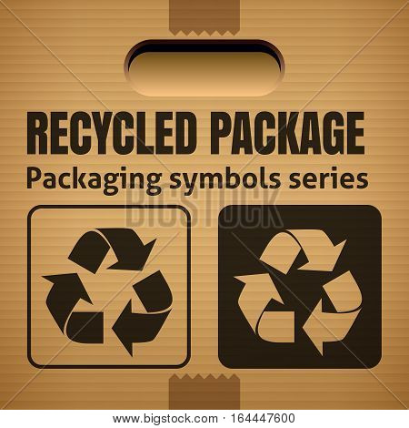 RECYCLED PACKAGE packaging symbol on a corrugated cardboard box. For use on cardboard boxes packages and parcels. Vector illustration