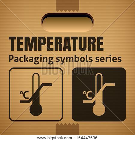 TEMPERATURE LIMITATION packaging symbol on a corrugated cardboard box. For use on cardboard boxes packages and parcels. Vector illustration