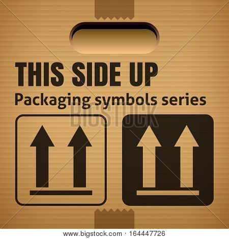 THIS SIDE UP packaging symbol on a corrugated cardboard box. For use on cardboard boxes packages and parcels. Vector illustration
