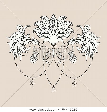 Hand drawn lotus ornament of floral elements for henna tattoo, stickers, mehndi flash temporary tattoo.Traditional indian style, doodles collection, monochrome.Vector illustration.