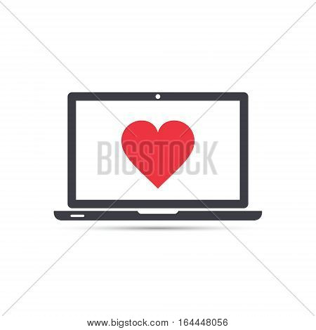 Laptop with heart icon in flat style vector isolated illustration.