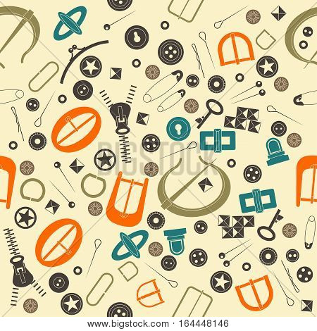Seamless vector pattern for haberdashery. Many fancy metal accessories for clothing and bags. Colored buttons buckles metal pins on beige background. Graphic vintage style.