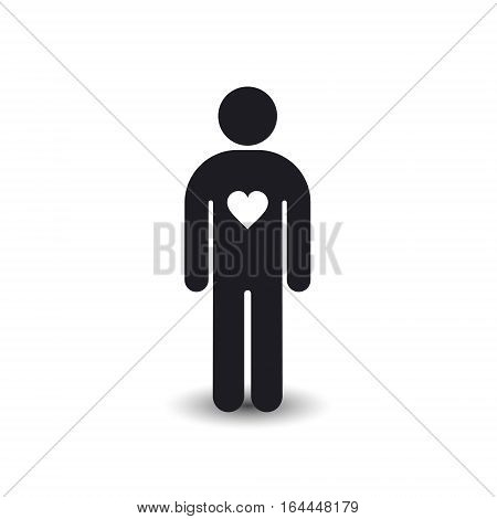 Man stature with heart icon silhouette Love health and donate concept. Vector symbol.