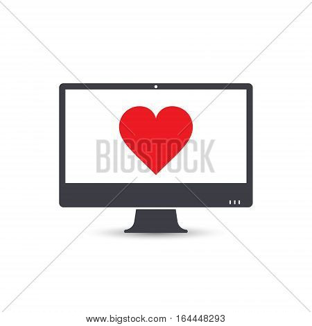 Personal computer pc with heart sign vector object.