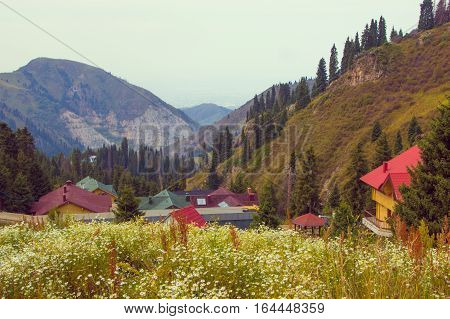 Shymbulak ski resort at summer. Mountains view