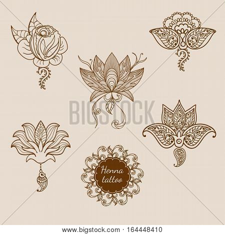 Hand drawn set ornament of floral elements for henna tattoo, stickers, mehndi flash temporary tattoo.Traditional indian style, doodles collection, monochrome.Vector illustration.